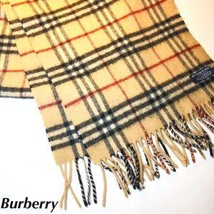 Burberry Lambswool Scarf Tan Nova Check Print